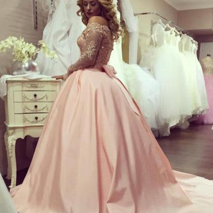 Long Sleeves Ball Gowns,lace Sleeves Prom Dresses,elegant Wedding ...