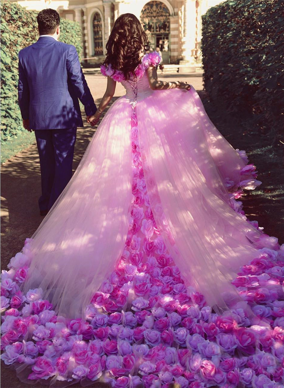 Pink Fairytale Wedding Dresses - High Cut Wedding Dresses