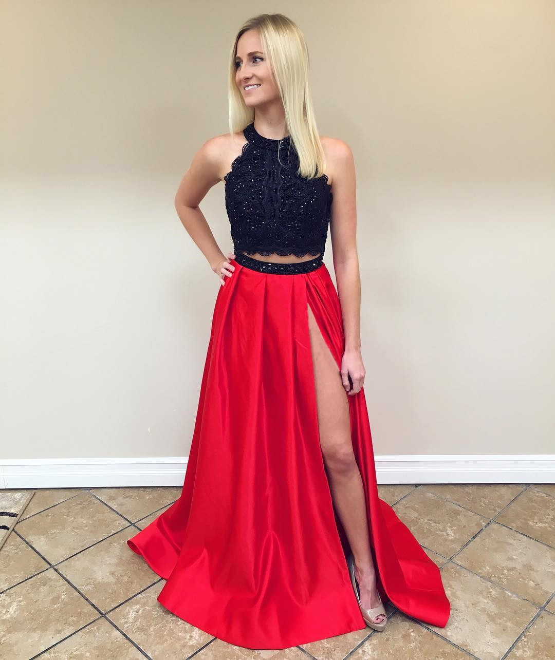 black lace crop to red satin two piece prom dresses 2017