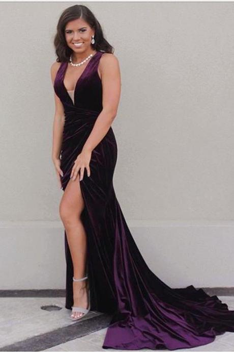grape prom dress,mermaid prom dress,velvet prom dress, v neck evening dress,long formal dress