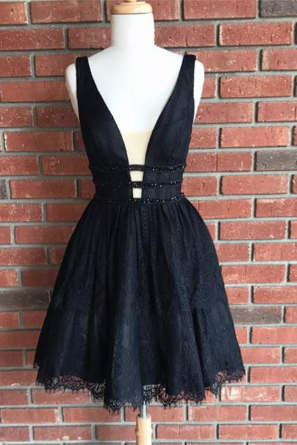 little black dress,black lace homecoming dress, short v neck prom dress,semi formal dress