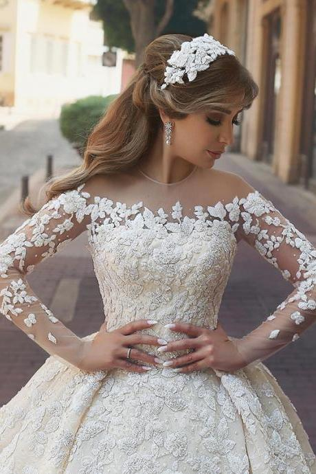 long sleeves wedding dress,vintage wedding dress,embroidery wedding gowns,bridal wedding dress