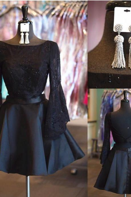 black homecoming dress,long sleeves homecoming dress,two piece prom dresses short