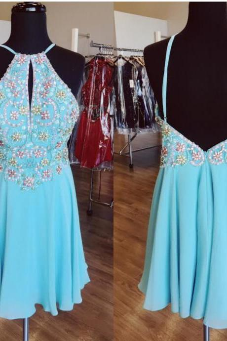 A Line Beaded Chiffon Prom Homecoming Dresses Short