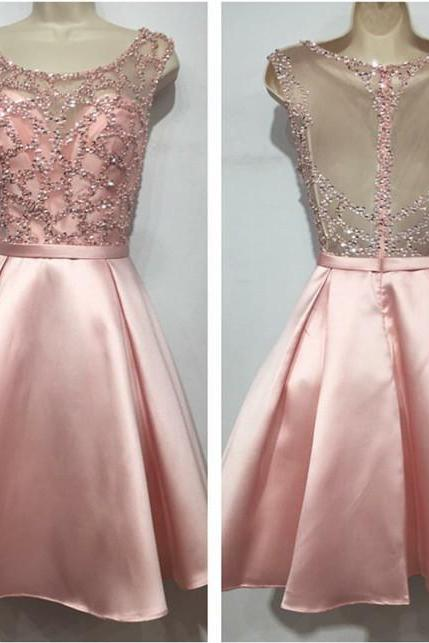 sequins beaded homecoming dress,cap sleeves homecoming dress,pink prom short dress,graduation dresses 2017