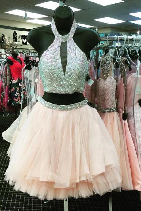 halter prom dress,short prom gowns 2017,two piece prom dress short,two piece homecoming dresses