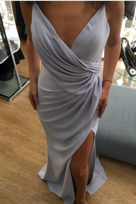 Silver Bridesmaid Dress,Long Mermaid Formal Dress,Sexy Mermaid Prom Dresses,Long Evening Gowns