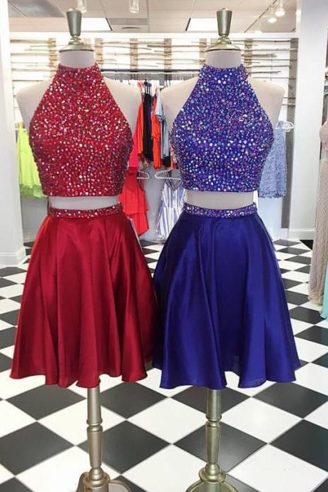 High Neck Homecoming Dresses,Two Piece Homecoming Dresses,Crystal Beaded Prom Short Dresses