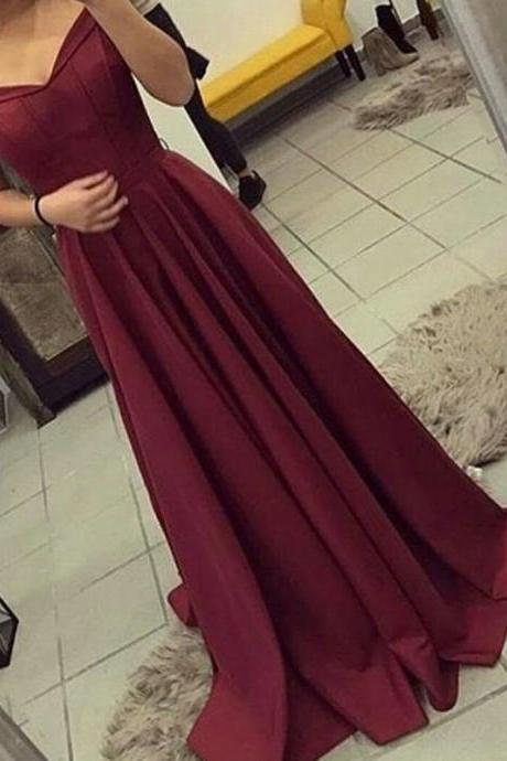 v neck bridesmaid dress,off shoulder bridesmaid dress,long satin gowns