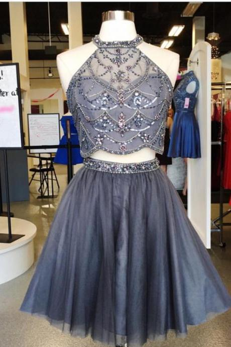 Two-Piece Homecoming Dress Featuring Beaded Embellished High Halter Neck Crop Top and Short Tulle Skirt