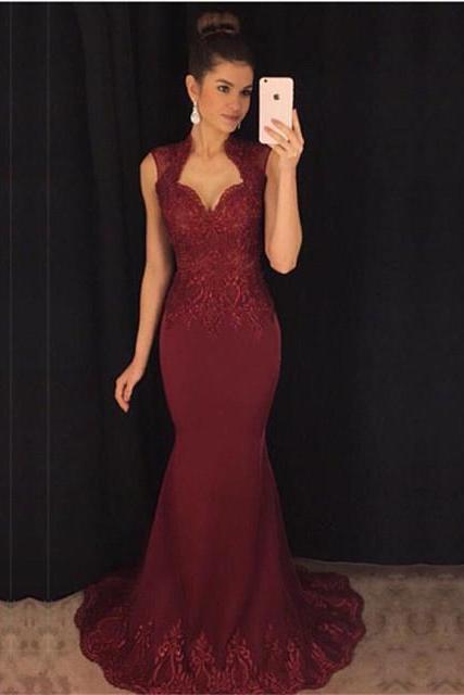 burgundy evening Gowns,Mermaid Prom Dress,Cap Sleeves Evening Dress,Lace Applique Dress