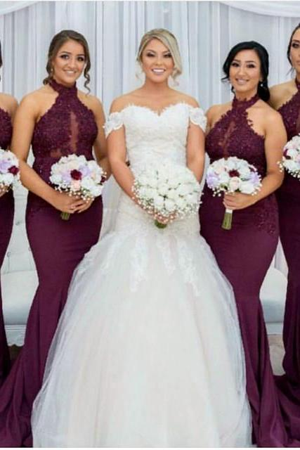 Halter Bridesmaid Dress,Mermaid Bridesmaid Dress,Grape Bridesmaid Dress,Long Formal Gowns