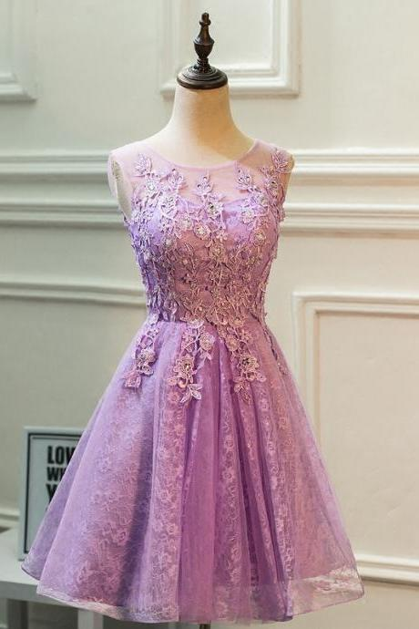 Lace Homecoming Dresses,Short Bridesmaid Dress,Cap Sleeves Prom Short Dresses