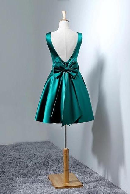 hunter green homecoming dress,short prom dresses gowns,bow back cocktail dress