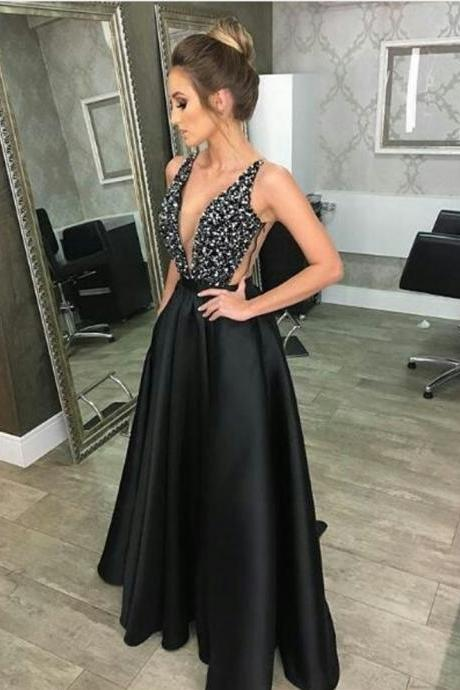 black prom dress, beaded prom dress,long evening gowns,v neck bridesmaid dresses