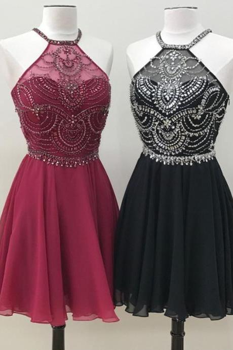 Halter Homecoming Dress,Chiffon Prom Short Dress,Beaded Cocktail Dresses