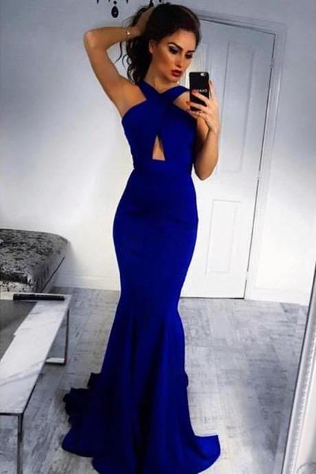 halter mermaid dress,royal blue evening gowns,long prom dresses,sexy long formal dress
