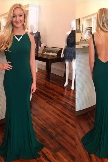 dark green prom dress,mermaid evening dress,sexy backless prom dresses