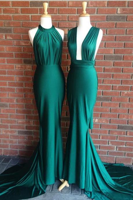 Emerald Green Prom Gowns,Mermaid Prom Dress,Elegant Evening Dress,Sexy Mermaid Gowns