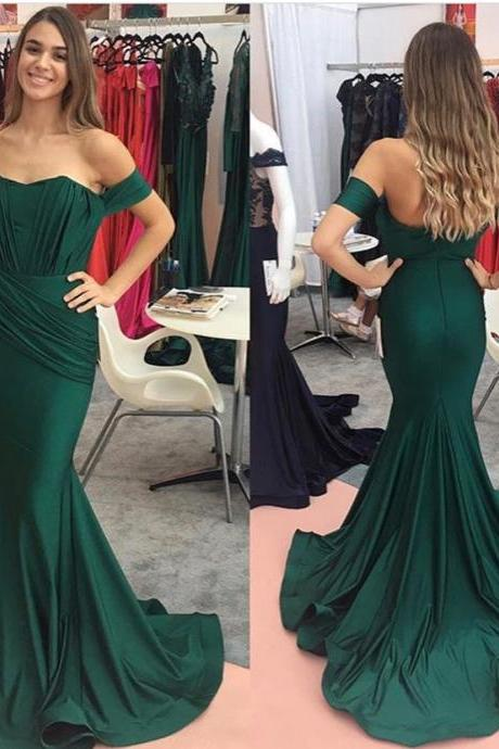 dark green prom dress,mermaid prom dress,mermaid evening gowns,off the shoulder prom dress