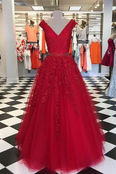 Red Ball Gowns,Ball Gowns Prom Dress,Tulle Formal Dress,Cap Sleeves Evening Dress