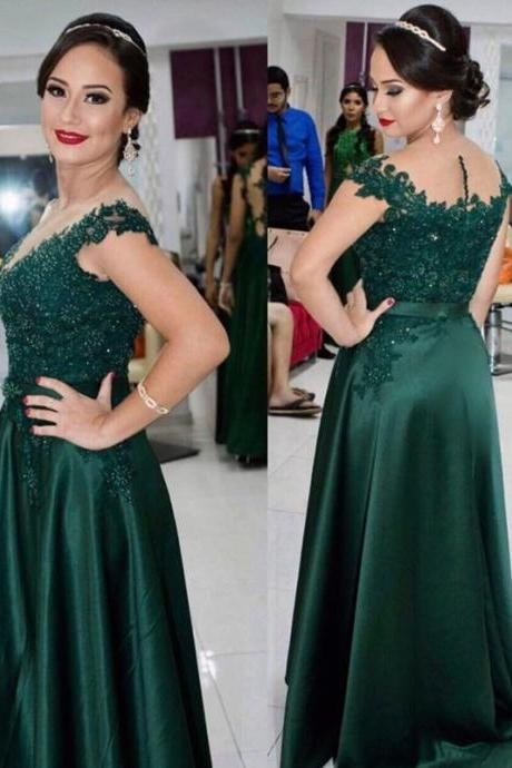 cap sleeves prom dress,elegant prom dress,long evening gowns,long formal dress