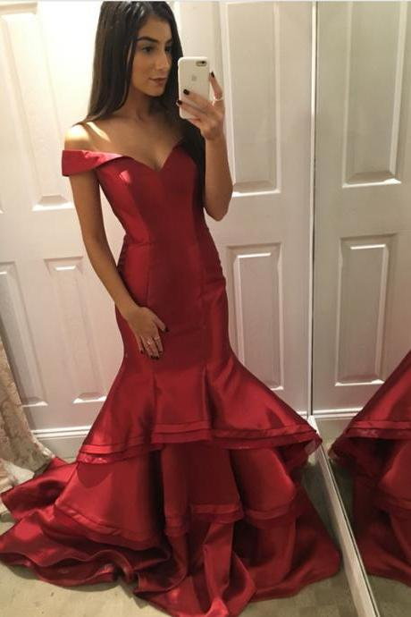 V-neck Evening Gowns,Ruffles Prom Dresses,Mermaid Prom Dresses,Mermaid Evening Gowns