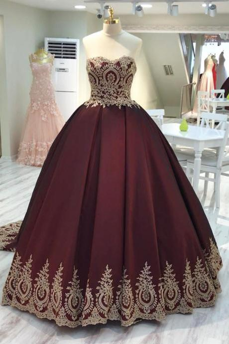 wine red wedding dress,burgundy wedding gowns,ball gown wedding dresses,bridal dress 2016,gold lace appliques wedding dress