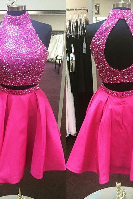 Short Pink Homecoming Dress,Beaded Cocktail Dress,Short Prom Dresses 2016,Two Piece Homecoming Gowns