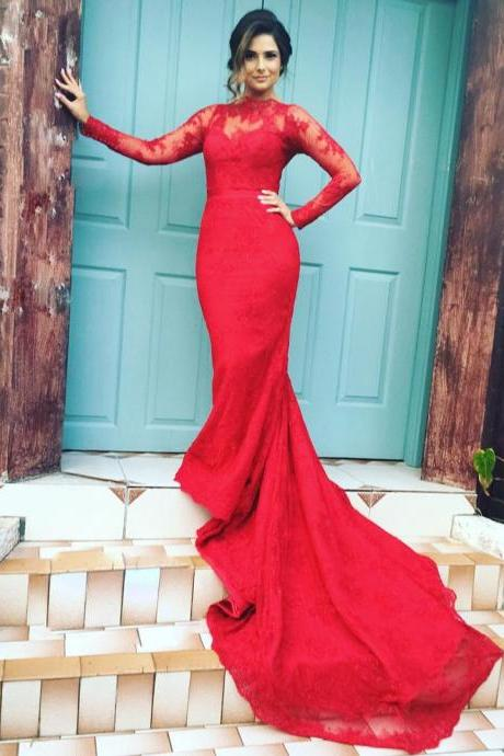 High Neck Long Sleeves Lace Mermaid Evening Dresses Red Prom Gowns 2016