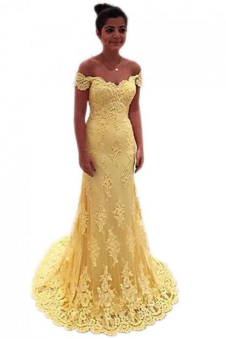Yellow Lace Prom Dress,Mermaid Evening Gowns,Long Bridesmaid Dresses