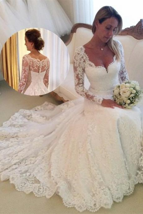 Long Sleeves Lace Mermaid Wedding Dresses 2016 Vestidos De Novia Sereia