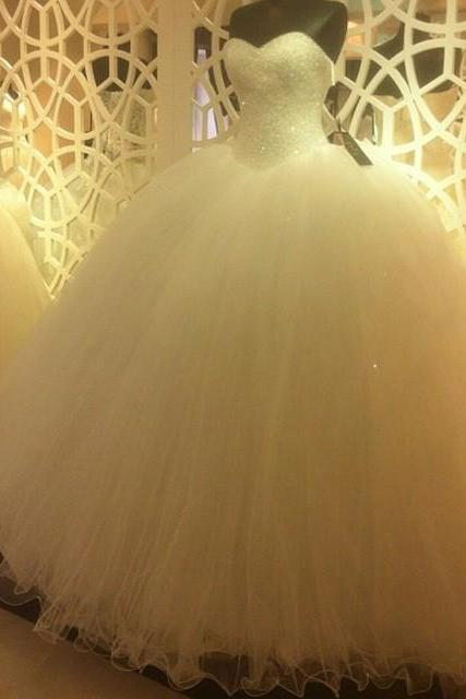 Sparkly Sequins Beaded Sweetheart White Organza Ball Gowns Wedding Dresses 2016