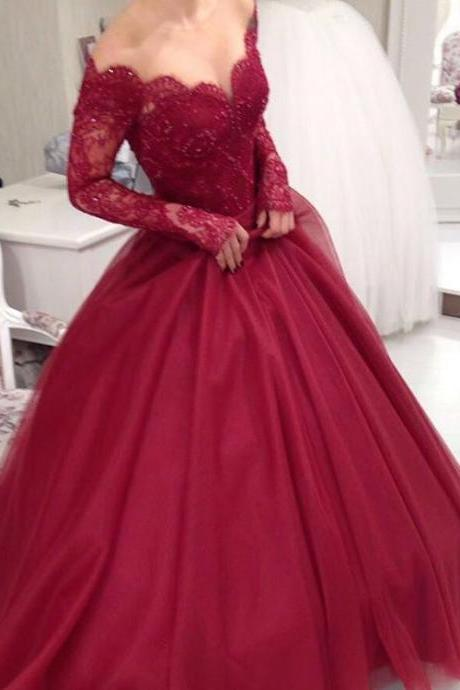 Sheer Scoop Neckline Long Sleeves Burgundy Ball Gowns Wedding Dresses,Elegant Party Dress,Prom Dresses 2017
