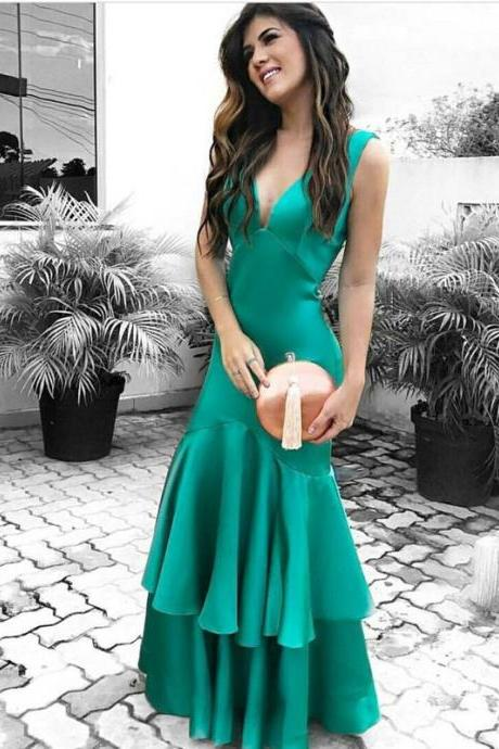 Elegant Green Satin V Neck Mermaid Prom Evening Gown Dresses With Ruffles Bottom