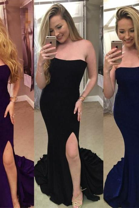 Strapless Prom Dresses,Mermaid Evening Dress,Long Formal Dress,Slit Prom Gowns,Velvet Prom Dresses