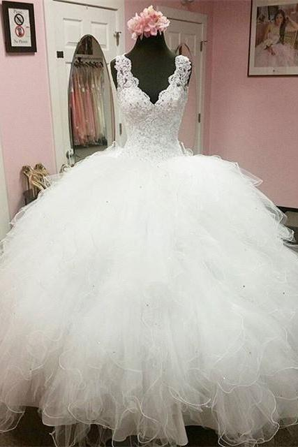 Elegant Lace V Neck Organza Ruffles Ball Gowns Wedding Dresses 2016 Princess Bridal Dress