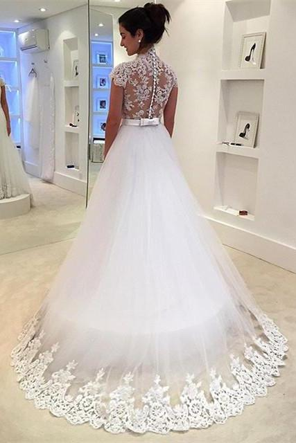 vintage lace v neck cap sleeves tulle princess wedding dress 2016 custom made bridal gowns