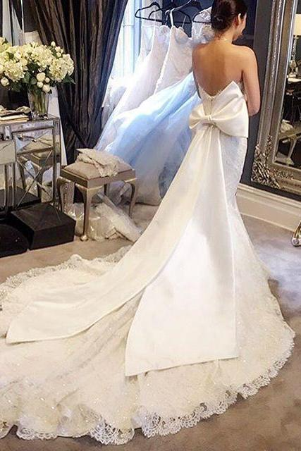 Unique Bow Back White Ivory Lace Strapless Mermaid Wedding Dresses 2016 Custom Made Bridal Gowns