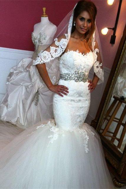 white lace sweetheart crystal beaded sashes mermaid wedding dress 2016 sexy bridal gowns