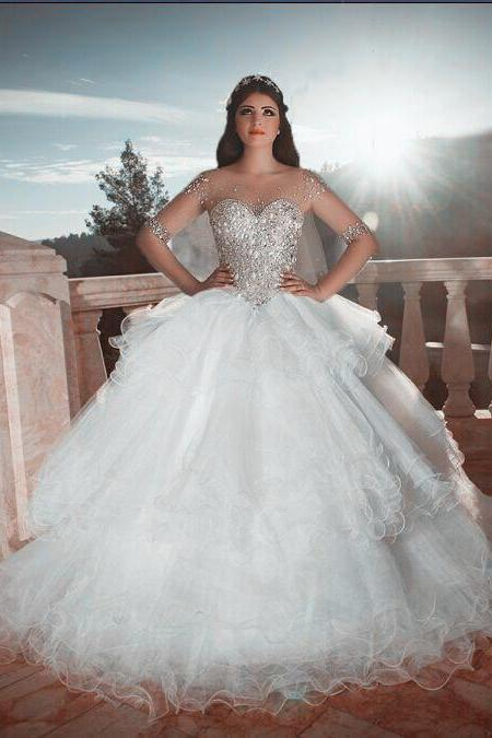 Illusion Long Sleeves Crystal Beaded Organza Ruffles Wedding Ball Gown Dresses 2016