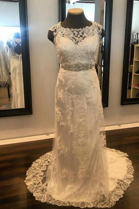 Chic Lace Open Back Mermaid Wedding Dresses With Crystal Sashes