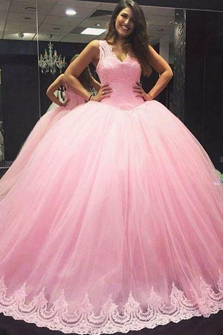 pink tulle v neck wedding dresses lace appliques,ball gown wedding dresses 2016 custom made