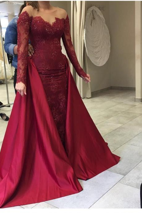 long sleeves evening gowns,mermaid prom dress,burgundy evening dress,formal dress