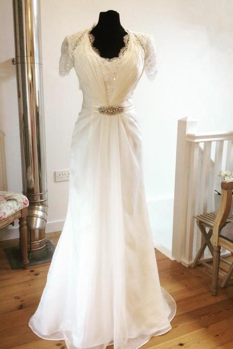 Short Sleeves Lace V Neck Wedding Dresses Chiffon Bridal Gowns