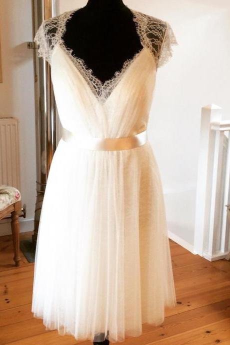 a line v neck tea length wedding dresses 2016 vintage