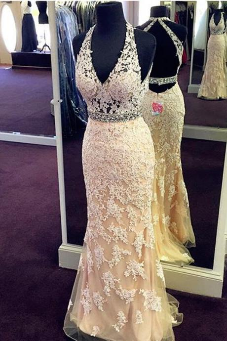 real sample halter prom dress,lace prom dress,mermaid evening dress.open back prom gowns,prom dress 2016 long