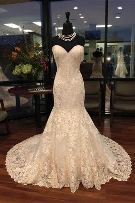 Strapless Sweetheart Lace Mermaid Wedding Dress