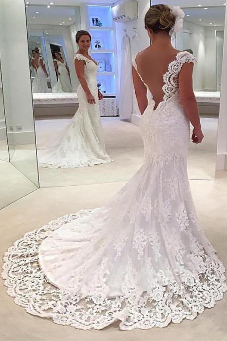 see through back v neck lace mermaid wedding gown dresses 2017 new design