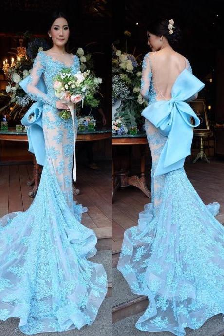 long sleeves evening dress,mermaid prom dress,bow back prom dress